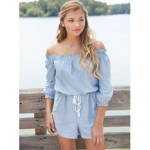NWT! Striped Chambray Short Romper